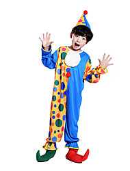 cheap -Burlesque Clown Circus Party Costume Kid's Boys' Funny & Reluctant Halloween Christmas Halloween Carnival Festival / Holiday Polyster Blue Carnival Costumes Polka Dot