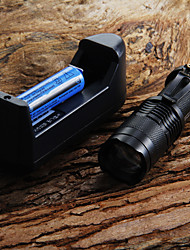 cheap -LED Flashlights / Torch Waterproof 300 lm LED 1 Emitters Waterproof Adjustable Focus Camping / Hiking / Caving Everyday Use Cycling / Bike / Aluminum Alloy