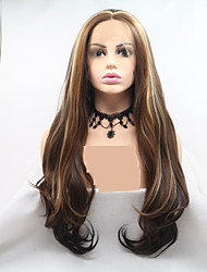cheap -Synthetic Lace Front Wig Body Wave Layered Haircut Lace Front Wig Blonde Long Brown Synthetic Hair 24 inch Women's Women Blonde Brown Sylvia