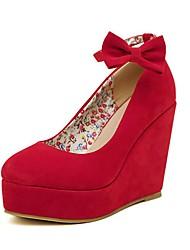 cheap -Women's PU(Polyurethane) Spring &  Fall Sweet Wedding Shoes Wedge Heel Round Toe Rhinestone / Bowknot / Buckle Red