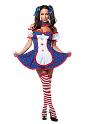 cheap -Burlesque Clown Circus Dress Party Costume Adults' Women's Funny & Reluctant Halloween Christmas Halloween Carnival Festival / Holiday Polyster Dark Blue Female Carnival Costumes Polka Dot