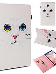 Недорогие -Кейс для Назначение SSamsung Galaxy Tab 4 10.1 / Tab S4 10.5 (2018) / Tab A 9.7 Кошелек / Бумажник для карт / Защита от удара Чехол Кот Твердый Кожа PU