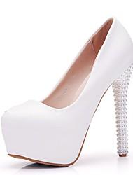 cheap -Women's PU(Polyurethane) Spring &  Fall Minimalism Wedding Shoes Platform Round Toe Imitation Pearl White