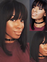 cheap -Virgin Human Hair Lace Front Wig Short Bob style Brazilian Hair Silky Straight Natural Black Wig 130% Density with Baby Hair Natural Hairline African American Wig For Black Women With Bangs Women's