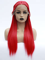 cheap -Synthetic Lace Front Wig Havana Twist Middle Part Lace Front Wig Long Red Synthetic Hair 22-26 inch Women's Heat Resistant Women Middle Part Red / Glueless