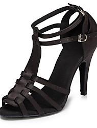 cheap -Women's Dance Shoes Satin Latin Shoes Splicing Heel Slim High Heel Customizable Black / Leopard / Performance / Leather