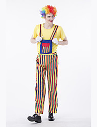 cheap -Burlesque Clown Circus Party Costume Adults' Men's Funny & Reluctant Halloween Christmas Halloween Carnival Festival / Holiday Polyster Yellow Carnival Costumes Stripes