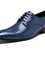 abordables -Homme Chaussures Formal Matière synthétique Printemps / Automne hiver Simple / Britanique Oxfords Ne glisse pas Noir / Vin / Bleu / Chaussures habillées