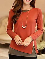 cheap -Women's Daily Slim T-shirt - Solid Colored Zipper / Fashion Black / Spring / Summer / Fall / Winter