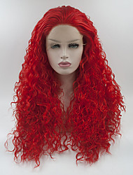 cheap -Synthetic Lace Front Wig Curly Free Part Lace Front Wig Long Red Synthetic Hair 18-26 inch Women's Adjustable Lace Heat Resistant Red