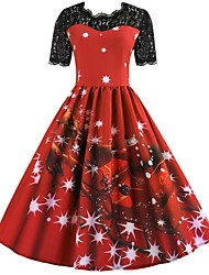 cheap -Winter Christmas Dress Women's Japanese Cosplay Costumes Red Print Vintage Short Sleeve