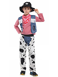 cheap -Westworld West Cowboy Cowboy Costumes Kid's Boys' Outfits Active Christmas Halloween Carnival Festival / Holiday Polyster White Carnival Costumes Jeans