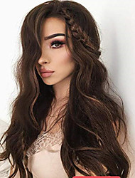 cheap -Remy Human Hair Full Lace Lace Front Wig Asymmetrical Rihanna style Brazilian Hair Straight Deep Curly Dark Brown Light Brown Wig 130% 150% 180% Density Soft Adorable Hot Sale Comfortable Natural