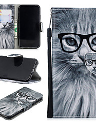 cheap -Case For Apple iPhone XR Wallet / Card Holder / Shockproof Full Body Cases Cat Hard PU Leather