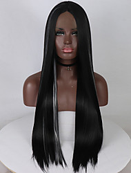 cheap -Synthetic Lace Front Wig Straight Middle Part Lace Front Wig Ombre Long Black / White Synthetic Hair 18-26 inch Women's Adjustable Lace Heat Resistant Ombre