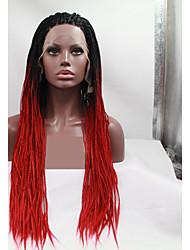 abordables -Perruque Lace Front Synthétique Tressé Coupe Dégradée Lace Frontale Perruque Long Noir / Rouge Cheveux Synthétiques 24 pouce Femme Homme Rouge Noir Sylvia