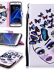 cheap -Case For Samsung Galaxy S7 edge Wallet / Card Holder / Shockproof Full Body Cases Butterfly / Sexy Lady Hard PU Leather