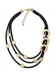 cheap -Women's Layered Necklace Double Layered PU Leather Gold Silver 48 cm Necklace Jewelry 1pc For Gift Club