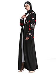 cheap -Adults' Women's A-Line Slip Ethnic Dress Arabian Dress Abaya Kaftan Dress Jalabiya Muslim Dress Maxi Dresses For Halloween Daily Wear Festival Polyester / Cotton Blend Embroidery Embroidered Long