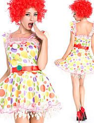cheap -Burlesque Clown Circus Dress Party Costume Adults' Women's Funny & Reluctant Halloween Christmas Halloween Carnival Festival / Holiday Polyster Rainbow Female Carnival Costumes Polka Dot