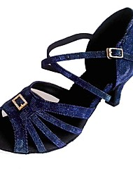 Недорогие -Жен. Танцевальная обувь Синтетика Обувь для латины Crystal / Rhinestone На каблуках Кубинский каблук Персонализируемая Темно-синий