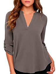 cheap -Women's Plus Size Solid Colored Chiffon Fashion Loose Shirt Daily V Neck Wine / White / Black / Blue / Purple / Red / Blushing Pink / Army Green