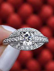 cheap -Women's Ring Diamond Cubic Zirconia tiny diamond 1pc White Copper Silver-Plated Geometric Luxury Unique Design Party Gift Jewelry Classic Pave Flower Cool Lovely