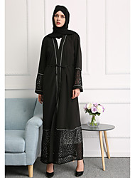 cheap -Adults' Women's Lace Ethnic Arabian Dress Abaya Kaftan Dress For Halloween Daily Wear Festival Lace Elastane Polyster Embroidery Lace Long Length Dress 1 Belt