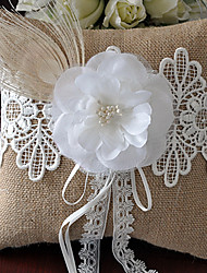 cheap -Silk Like Satin / Artificial feather / Linen / Rayon Satin Flower / Feathers / Fur / Lace Satin Ring Pillow Wedding All Seasons