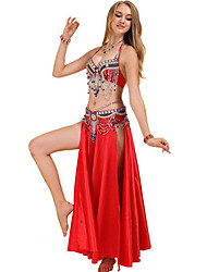 cheap -Belly Dance Outfits Women's Training / Performance Polyester Crystals / Rhinestones / Paillette Sleeveless Dropped Bra
