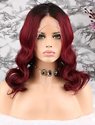 cheap -Remy Human Hair Lace Front Wig Asymmetrical Rihanna style Brazilian Hair Wavy Brown Wig 130% Density Women Easy dressing Natural Natural Hairline 100% Virgin Women's Long Human Hair Lace Wig Luckysnow