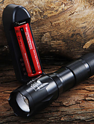 cheap -UltraFire LED Flashlights LED Flashlights / Torch 1600 lm LED LED 7 Emitters 5 Mode with Battery and Charger Zoomable Adjustable Focus Camping / Hiking / Caving Everyday Use Cycling / Bike Black