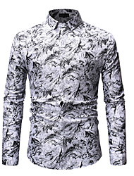 cheap -Men's Shirt Floral Print Long Sleeve Going out Tops Basic Streetwear White Blue Red