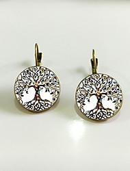 cheap -Women's Stud Earrings Retro Tree of Life life Tree Ethnic Earrings Jewelry Gold / Silver For Stage Holiday 1 Pair