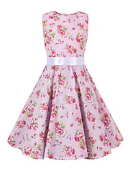 cheap -Audrey Hepburn Floral Style Vintage Vintage Inspired Hepburn Dress JSK / Jumper Skirt Girls' Kid's Costume Pink Vintage Cosplay Party / Evening Family Gathering Festival Sleeveless Above Knee Knee