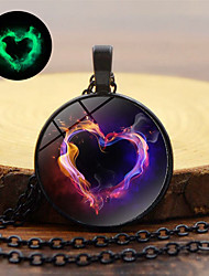 cheap -Women's Pendant Necklace Classic Heart Magic Classic Trendy Colorful Glass Chrome Gold Black Silver 45+5 cm Necklace Jewelry 1pc For Going out Club