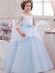 cheap -Princess Floor Length Wedding / Party / Pageant Flower Girl Dresses - Lace / Tulle / Mikado 3/4 Length Sleeve Square Neck with Lace / Bow(s) / Splicing