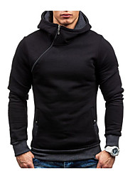 cheap -Men's Basic Long Sleeve Hoodie - Solid Colored Hooded Blue M / Skinny