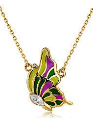 cheap -Women's Clear Crystal Pendant Necklace Singapore Butterfly Classic Fashion Elegant Gold Plated Chrome Gold 44 cm Necklace Jewelry 1pc For Daily Formal