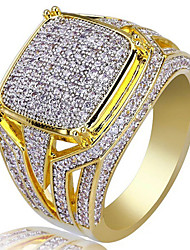 cheap -Men's Ring Signet Ring Cubic Zirconia 1pc Yellow Gold Plated Alloy Geometric Luxury Unique Design Hip Hop Wedding Party Jewelry Classic Cool Lovely