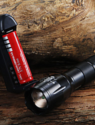 cheap -LED Flashlights / Torch 1600 lm LED LED 1 Emitters 3 Mode with Battery and Charger Zoomable Adjustable Focus Camping / Hiking / Caving Everyday Use Cycling / Bike / Aluminum Alloy