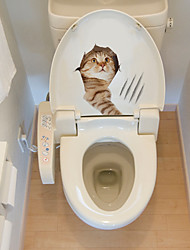 cheap -Cute Animals Toilet Stickers - Animal Wall Stickers Animals Bathroom / Kids Room