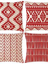 cheap -4 pcs Cotton / Linen Pillow Cover, Lines / Waves Patterned Geometic Geometric Patterned