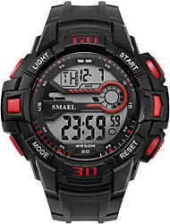 cheap -Men's Sport Watch Digital Watch Digital Quilted PU Leather Black Water Resistant / Waterproof Noctilucent Large Dial Digital Casual Fashion - Red Blue Golden