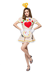 cheap -Maid Costume Burlesque Clown Circus Dress Party Costume Adults' Women's Funny & Reluctant Halloween Christmas Halloween Carnival Festival / Holiday Lace Polyster Beige Female Carnival Costumes Lace