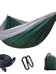 cheap -Camping Hammock Double Hammock Outdoor Ultra Light (UL) Quick Dry Breathability Parachute Nylon for 2 person Fishing Camping Gray Dark Green Army Green 300*200 cm