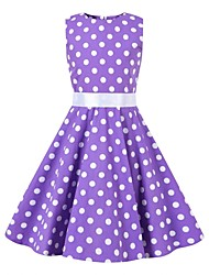 cheap -Audrey Hepburn Floral Style Vintage Vintage Inspired Hepburn Dress JSK / Jumper Skirt Girls' Kid's Costume Purple Vintage Cosplay Party / Evening Family Gathering Festival Sleeveless Above Knee Knee