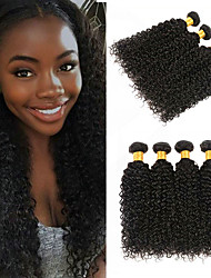 cheap -4 Bundles Kinky Curly Virgin Human Hair Unprocessed Human Hair Natural Color Hair Weaves / Hair Bulk Hair Care Extension 8-28 inch Natural Color Human Hair Weaves Odor Free Silky Sexy Lady Human Hair