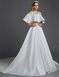 cheap -Two Piece Off Shoulder Chapel Train Satin Sleeveless Modern Wedding Dresses with Lace / Ruffles 2020