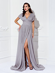 cheap -Sheath / Column V Neck Sweep / Brush Train Chiffon Furcal / Elegant / Minimalist Formal Evening / Black Tie Gala Dress 2020 with Ruched / Pleats